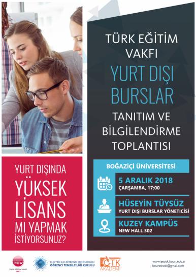 TEV Yurt Dışı Burslar Tanıtım ve Bilgilendirme Toplantısı
